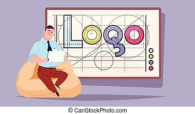 Business Man Working On Laptop Computer Over Logo Word Creative Graphic Design On Abstract Geometric Shapes Background