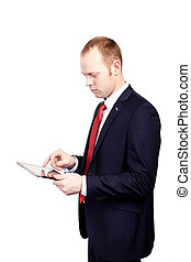 Business man working with a digital tablet on an isolated whi