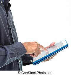 Business man working with a tablet