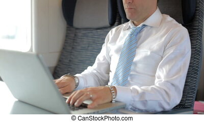 Business man working with laptop co