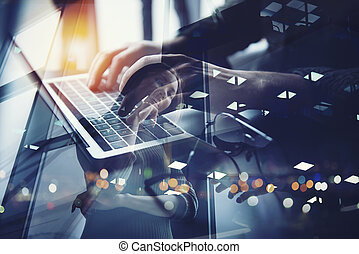 Business man works in office with laptop. Concept of internet network. double exposure