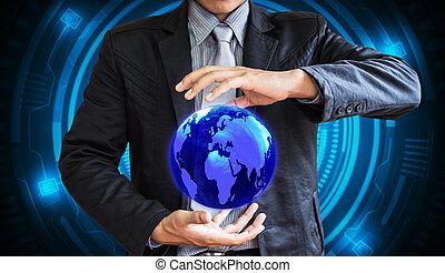 business man world technology