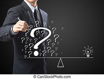 business man write solution concept