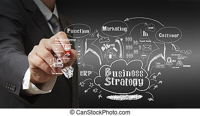 business man writing business strategy
