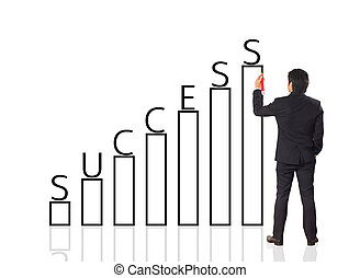 Business man writing growth graph