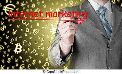 business man writing internet marketing
