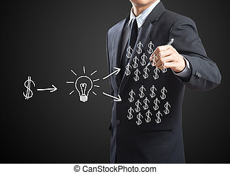 man writing investment concept - business man writing...
