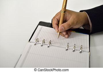 Business Man Writing On Agenda