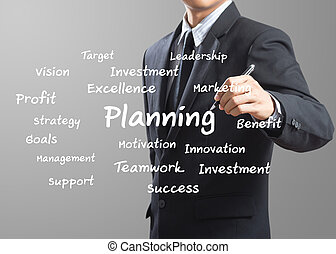 business man writing Planning