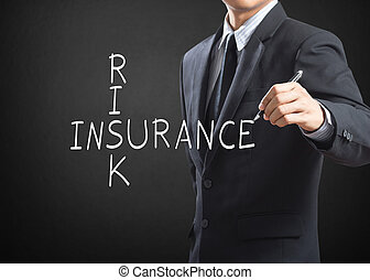 Business man writing Risk Insurance