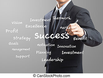 business man writing Success
