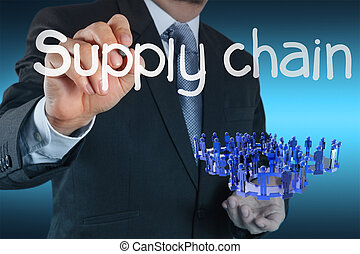 business man writing supply chain management concept by flow...