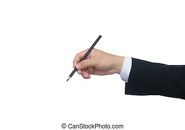 Business man writing with pencil isolated on white background with clipping path