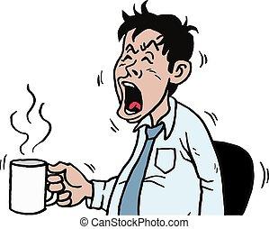 Business Man Yawning Cartoon Vector Illustration