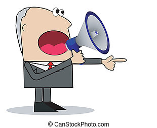 business man yells in a megaphone