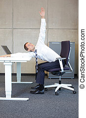 business man yoga in office - yoga in office. business man...