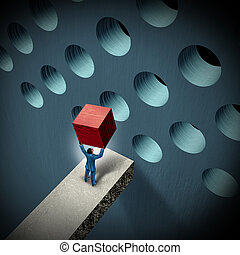 Business management challenges concept with a businessman holding a cube trying to make it fit in a round hole as a symbol of overcoming obstacles and adversity through strategy and strong leadership.