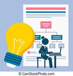 Business management concept. Development of an action plan, bulb and large board with block diagram