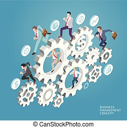 Business management conceptual. Business people run on gear. Vector Illustrations.