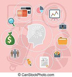 Business management flat design icons set