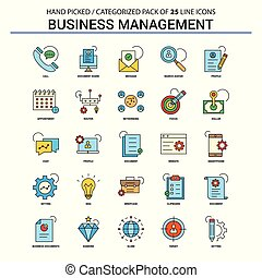 Business Management Flat Line Icon Set - Business Concept Icons Design