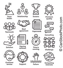Business management icons in line style. Pack 10.