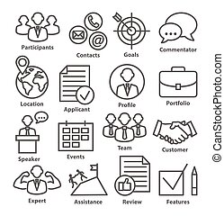 Business management icons in line style on white