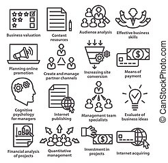 Business management icons in line style. Pack 09.