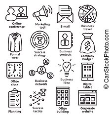 Business management icons in line style. Pack 12.