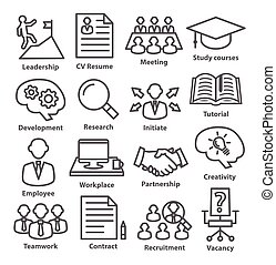 Business management icons in line style. Pack 20.