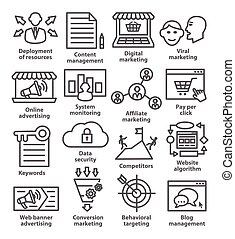 Business management icons in line style. Pack 24. - Business...