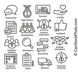 Business management icons in line style on white. Pack 26.