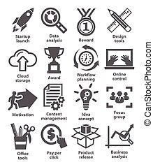 Business management icons. Pack 28.