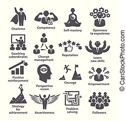 Business management icons Pack 45 Icons for leadership,...