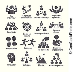 Business management icons Pack  on white background