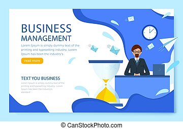 Business management. Landing page. Manager is sitting at a Desk with a pile of messages