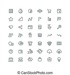 Business management, strategy, career vector line icons set