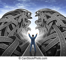 Business Management with a businessman with his arms in the air parting the sea of confused tangled roads and highways to open a clear path to success as a leadership financial concept of overcoming challenges.