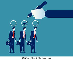 Business manager hand selection man appropriate candidate. ...