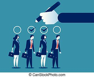 Business manager hand selection team appropriate candidate. ...