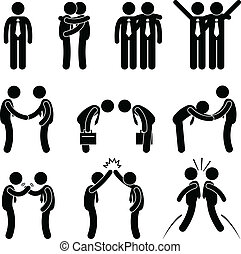 A set of human pictograms representing the way of businessman greets each others.