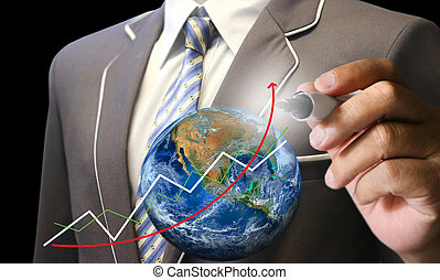 business man's hand writing earth , Elements of this image furnished by NASA