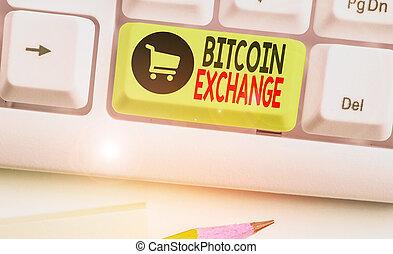 business, marché, où, bitcoins., main, boîte, conceptuel, photo, projection, exchange., numérique, showcasing, commerçants, vendre, bitcoin, écriture, achat
