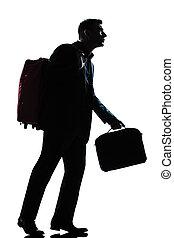 business, marche, valise, homme, épaules, voyageur