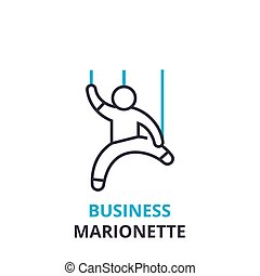 Business marionette concept , outline icon, linear sign, thin line pictogram, logo, flat vector, illustration