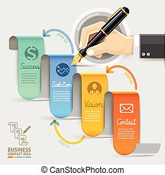 Business marketing contact. Businessman hand with pen. Vector illustration. Can be used for workflow layout, banner, diagram, number options, web design, infographic, timeline template.