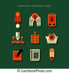 Business marketing Icons modern. Orange white vector on green background