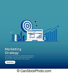 business marketing strategy spreadsheet on screen. finance analysis audit with graphs charts. Return on investment ROI concept. increase profit stretching rising up. banner template illustration