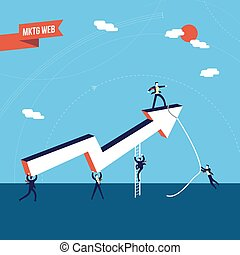 Business marketing teamwork success illustration