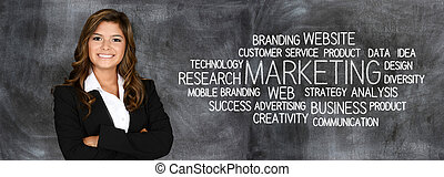 Business Marketing - Woman who is doing marketing work for a...